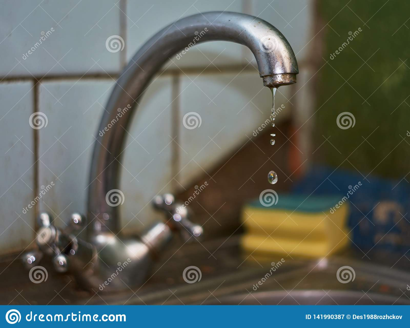 Old Dripping Kitchen Faucet Close Up Stock Image - Image of ...