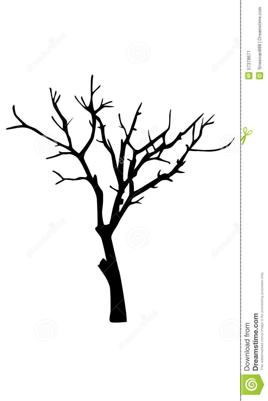 Old Dry Tree Silhouette Stock Illustration - Image: 57378671