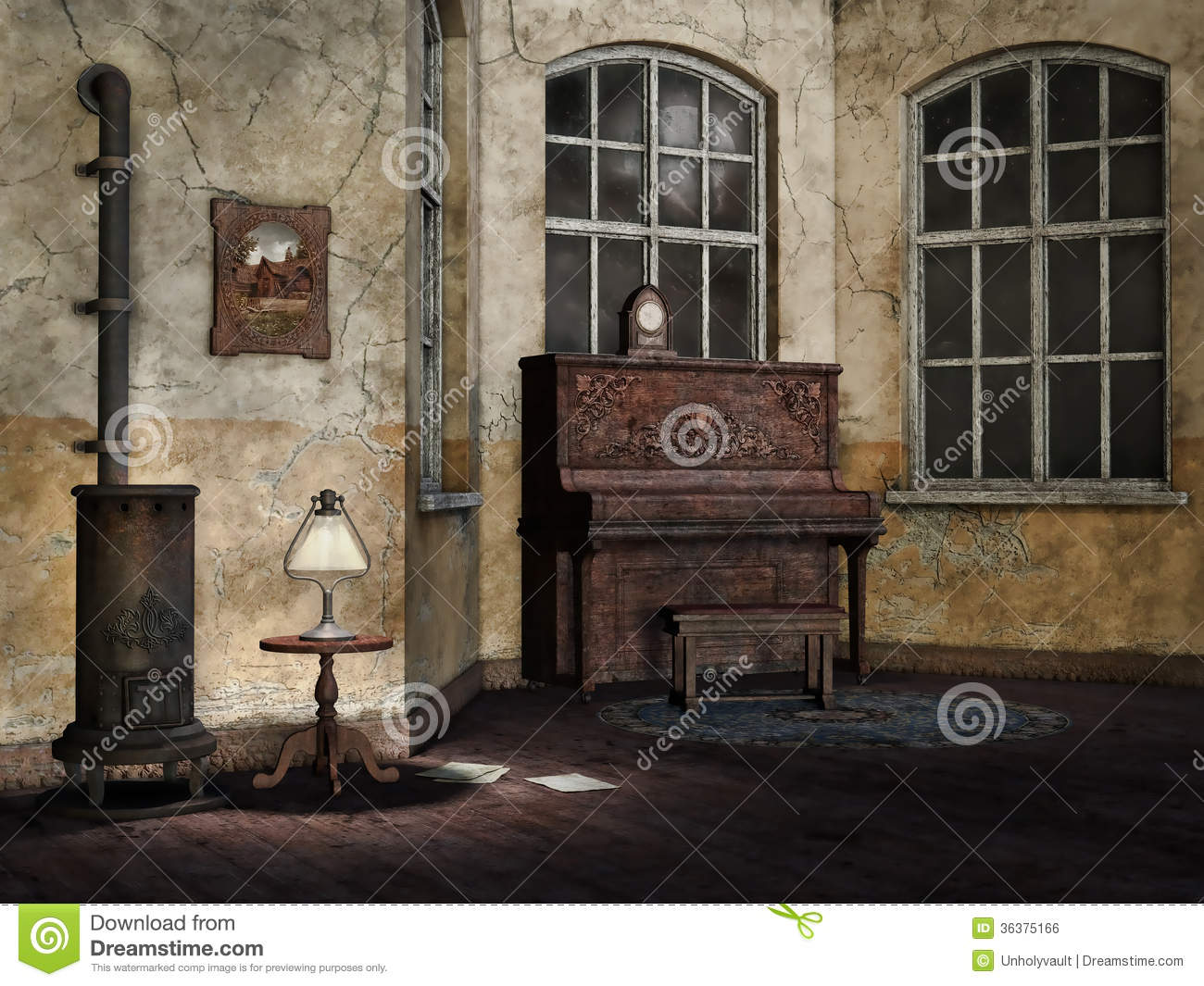 Old And Dusty Living Room Stock Illustration Illustration
