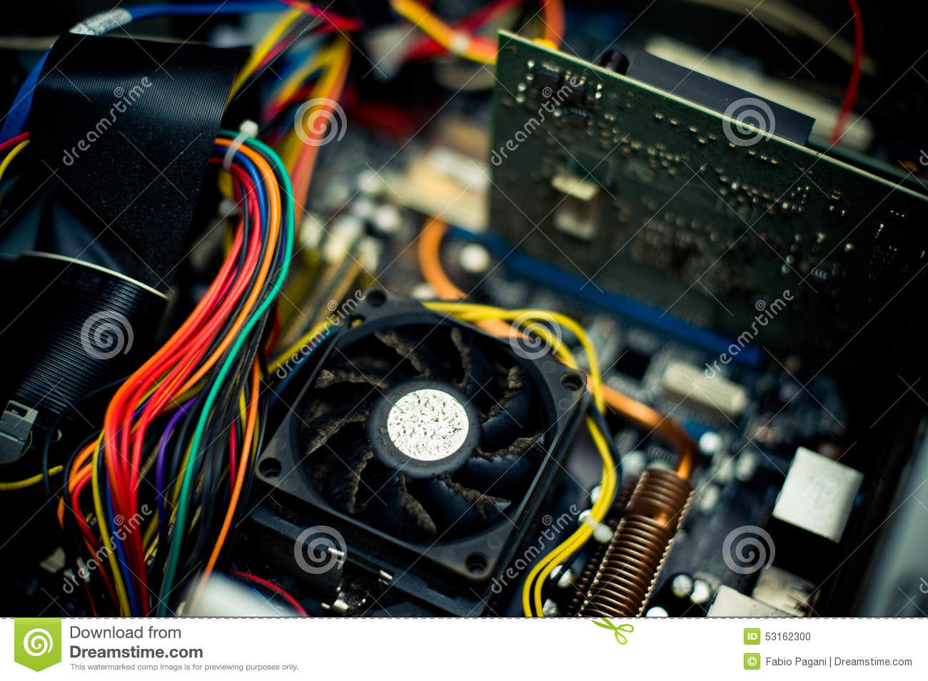 Old Dusty Pc Motherboard Fan Vintage Color Effect Stock Photo Capacitorcircuit Download Image Of Capacitor