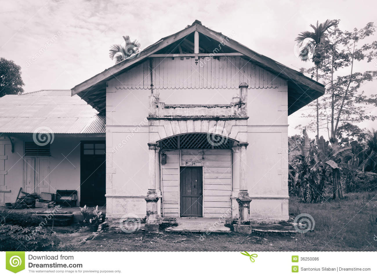 Old dutch colonial house in tebing tinggi stock photo for Classic dutch house of 60m2