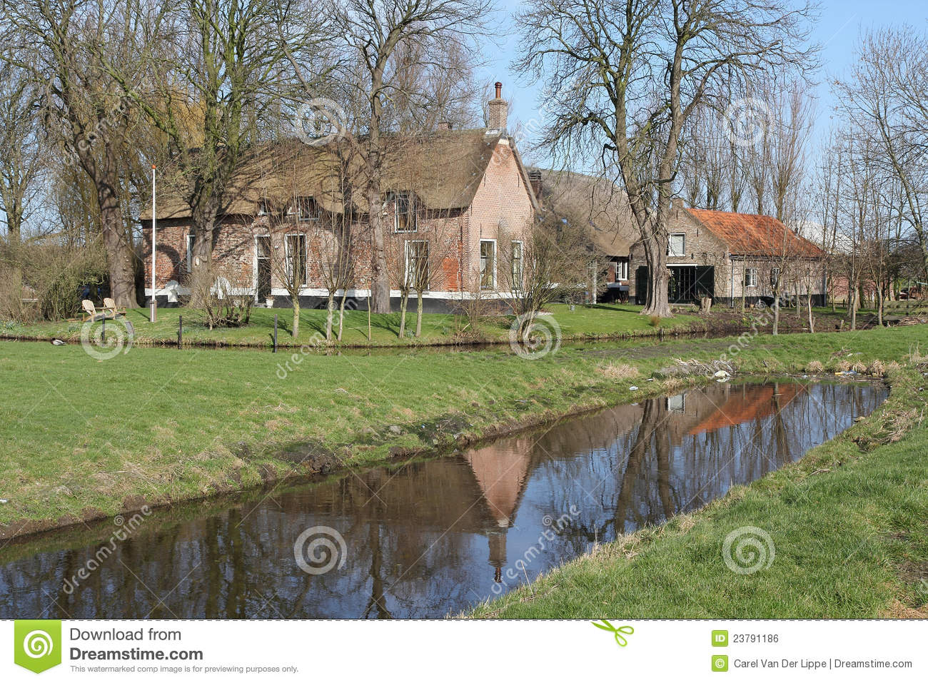 Old Dutch Farmhouse In The Meadow Royalty Free Stock Image