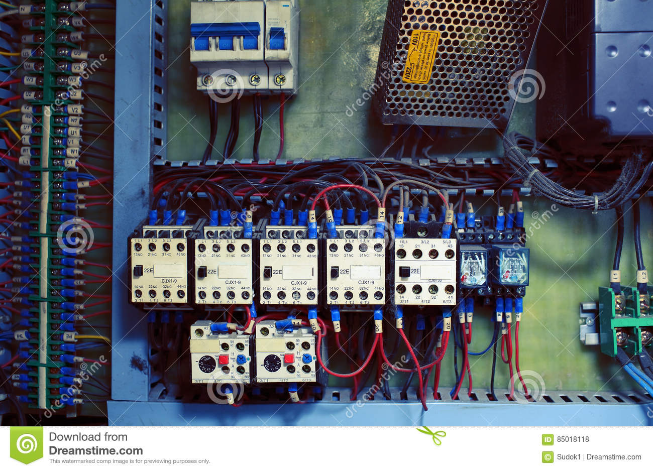old electric distribution block with knife switches and wires c rh dreamstime com old wiring black red white 110 Block Wiring