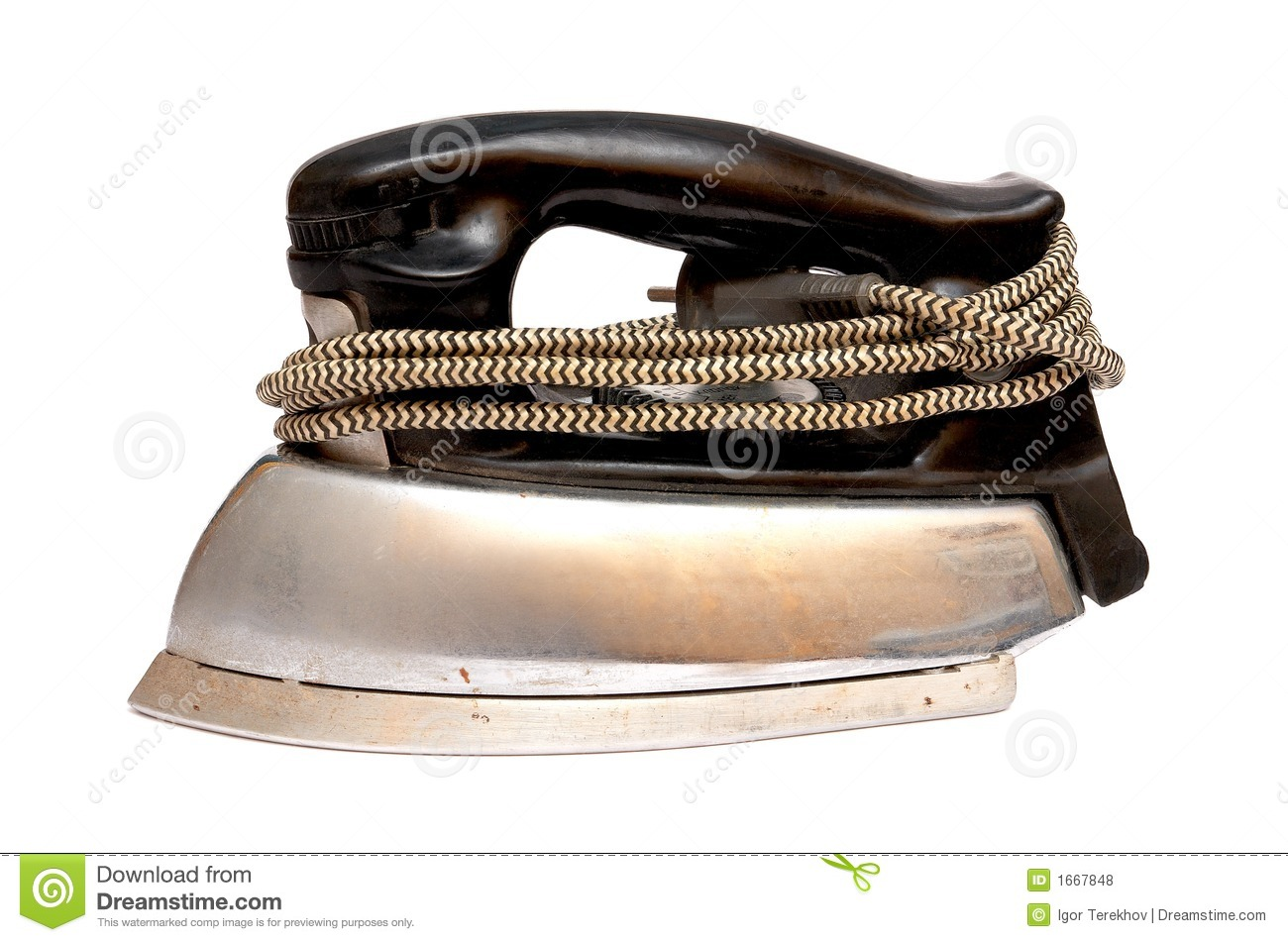 Old Electric Iron ~ Old electric iron stock photo image of clothing