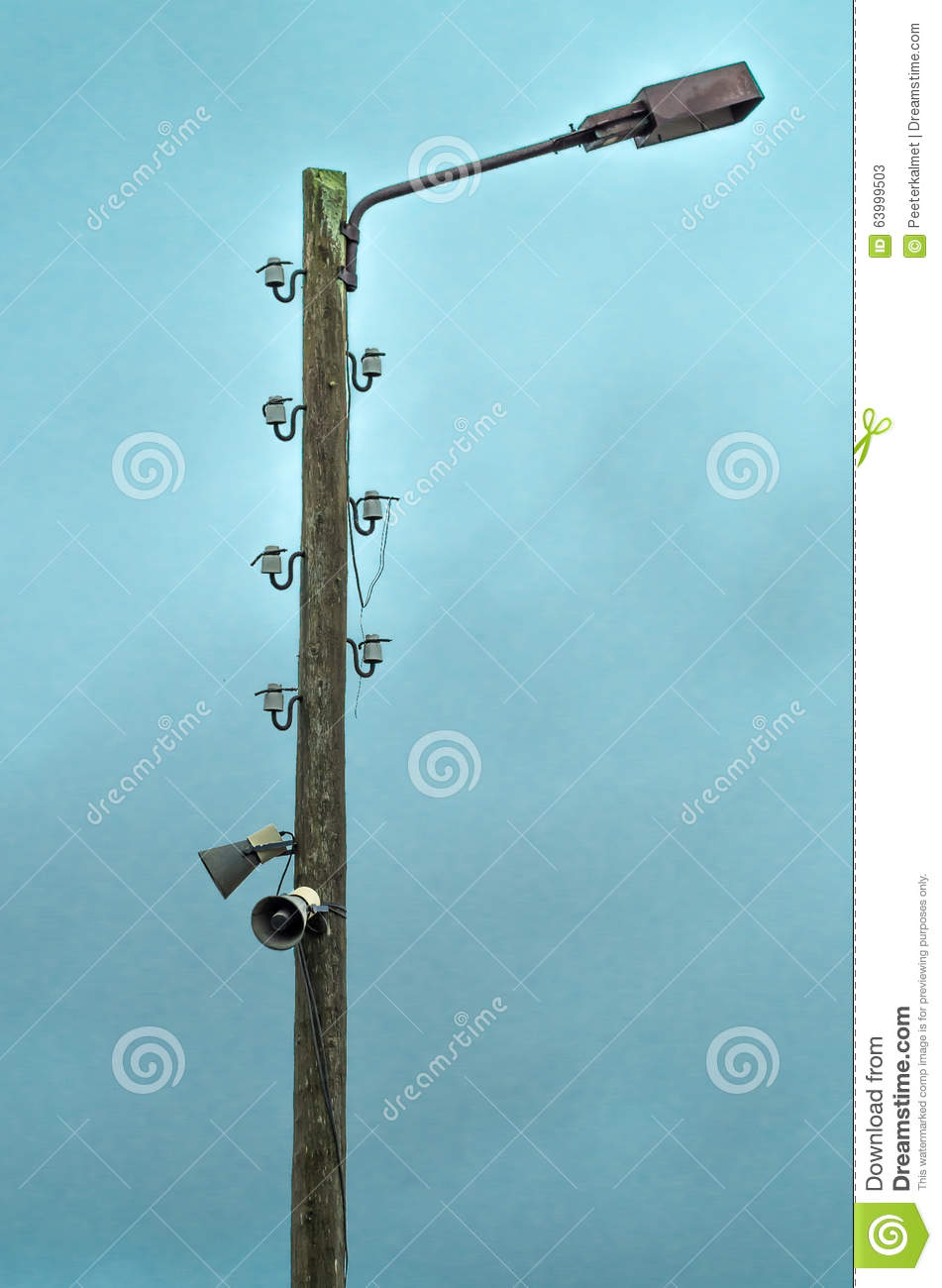 Old Electric Lamp Post With Speakers Stock Image Of Vintage Wiring A New Light Fixture To