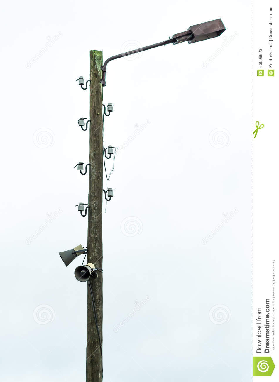 Old Electric Lamp Post With Speakers Stock Photo - Image: 63999523