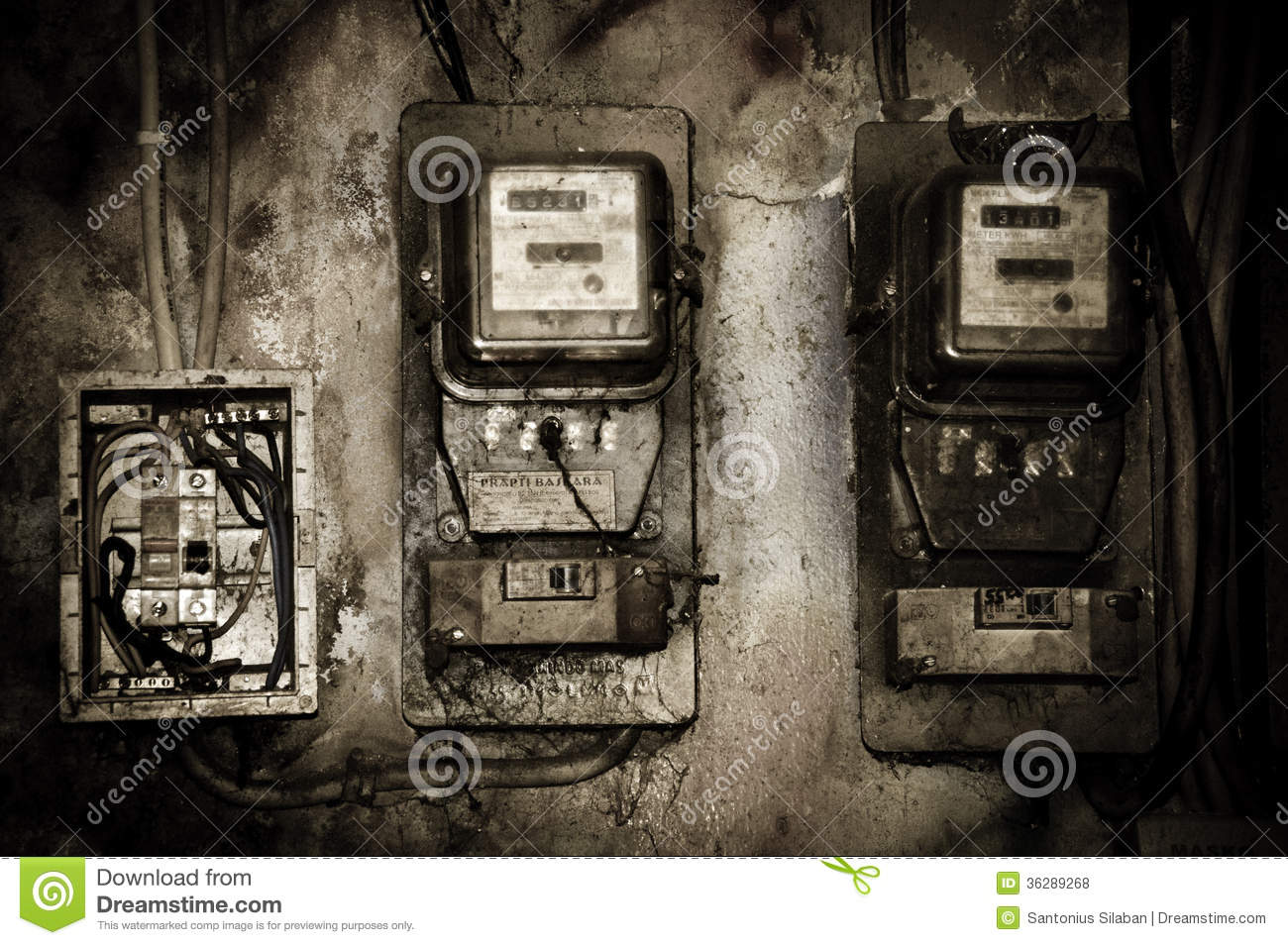 Multifunction Meter Front View : Old electric meter editorial stock photo image