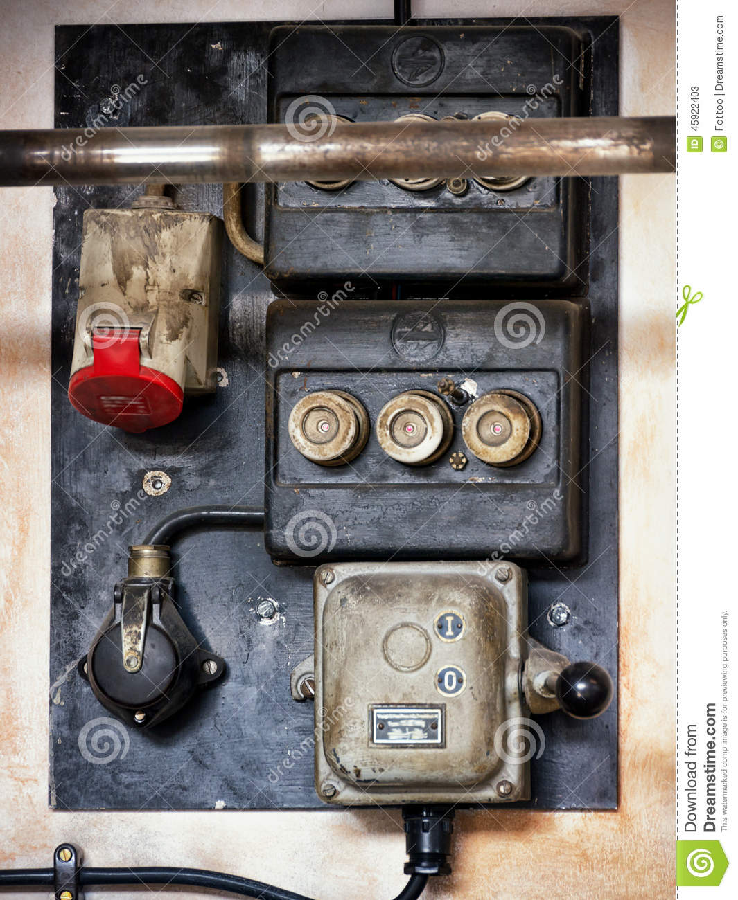 Old electric panel stock image of electrical fuse