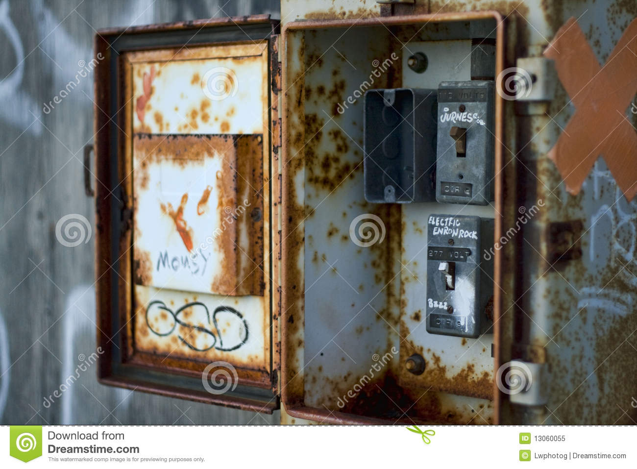 old electrical box royalty free stock photo image 13060055. Black Bedroom Furniture Sets. Home Design Ideas