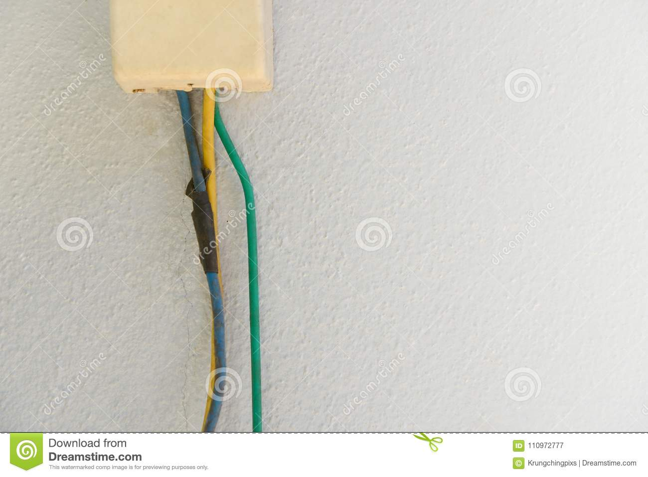 Old Electrical Cable Connected To Junction Box Stock Image Home Wiring