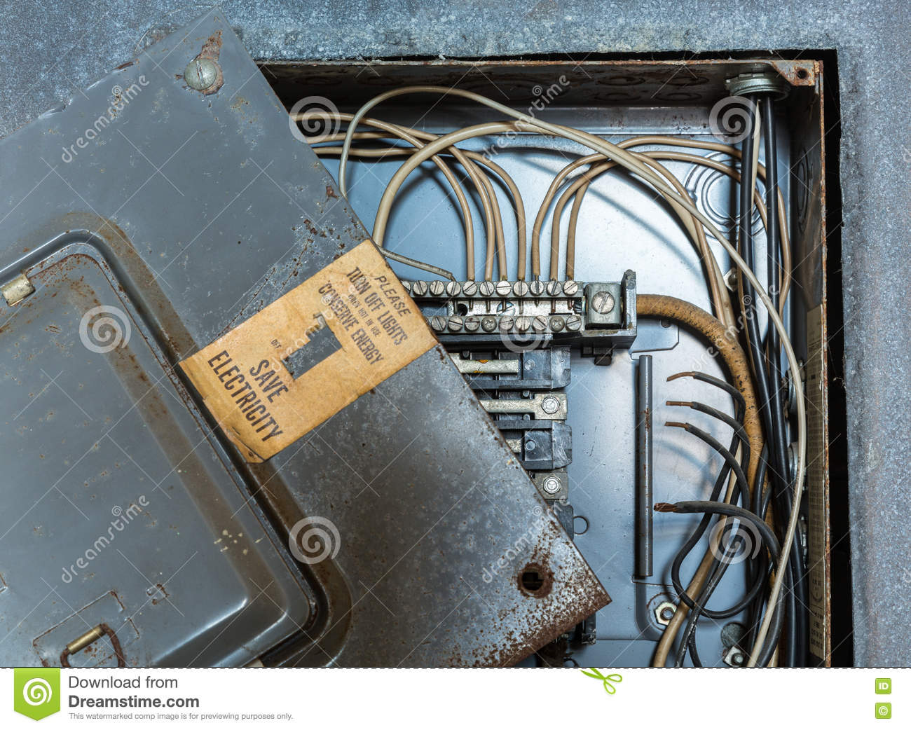 Old Electrical Distribution Or Wiring Box Stock Image Of Home