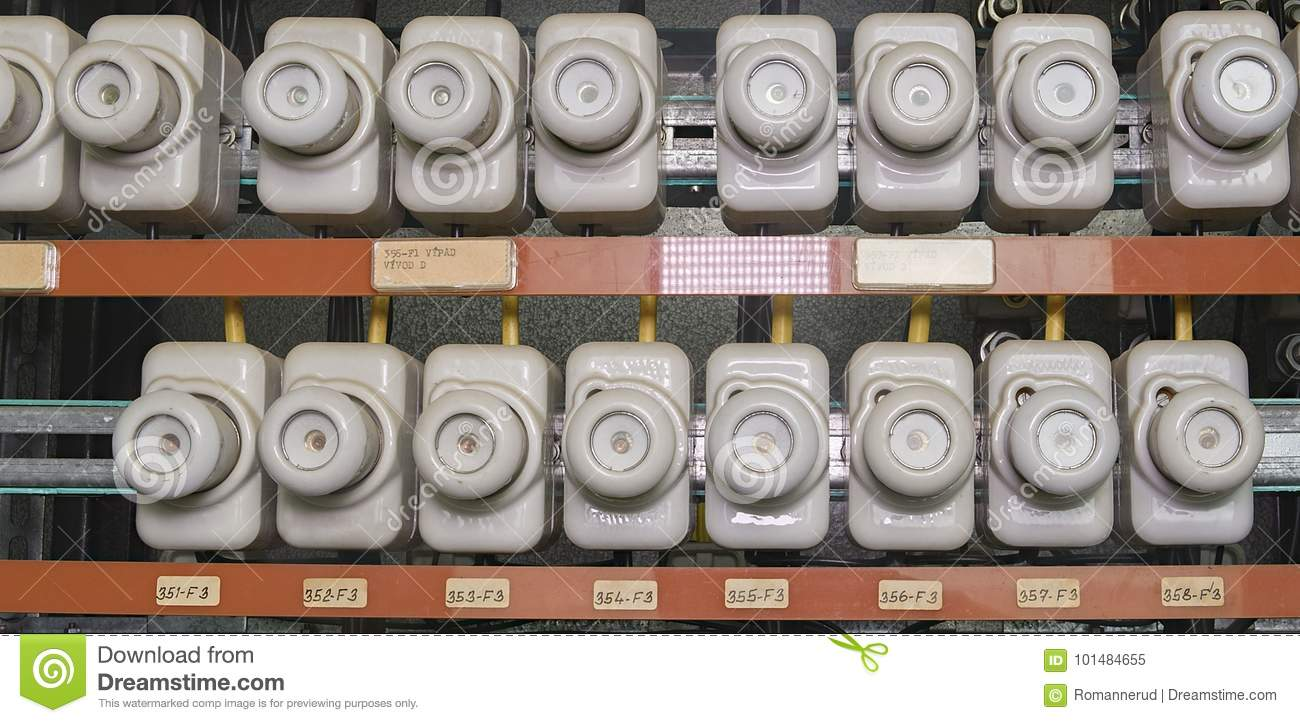 old electrical fuse box with porcelain fuses stock image. Black Bedroom Furniture Sets. Home Design Ideas