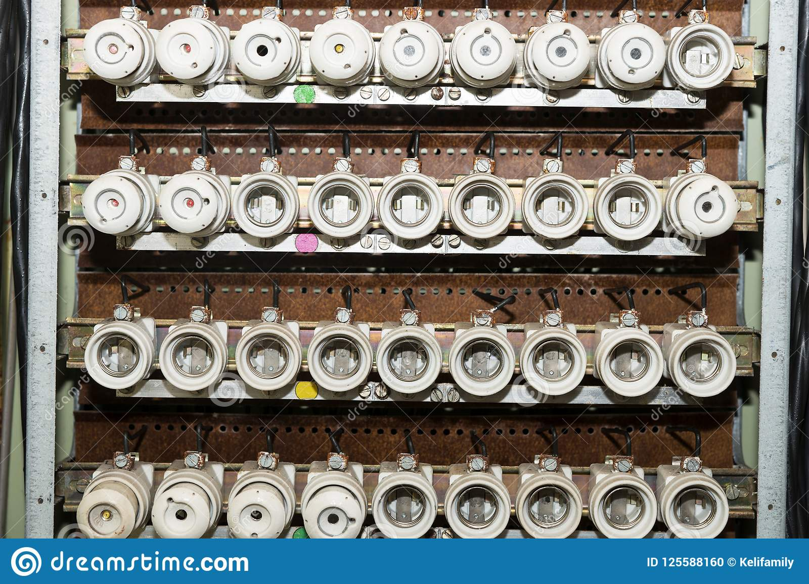 Download Old Electrical Fuse Box With Porcelain Fuses Stock Photo - Image  of repair, objects