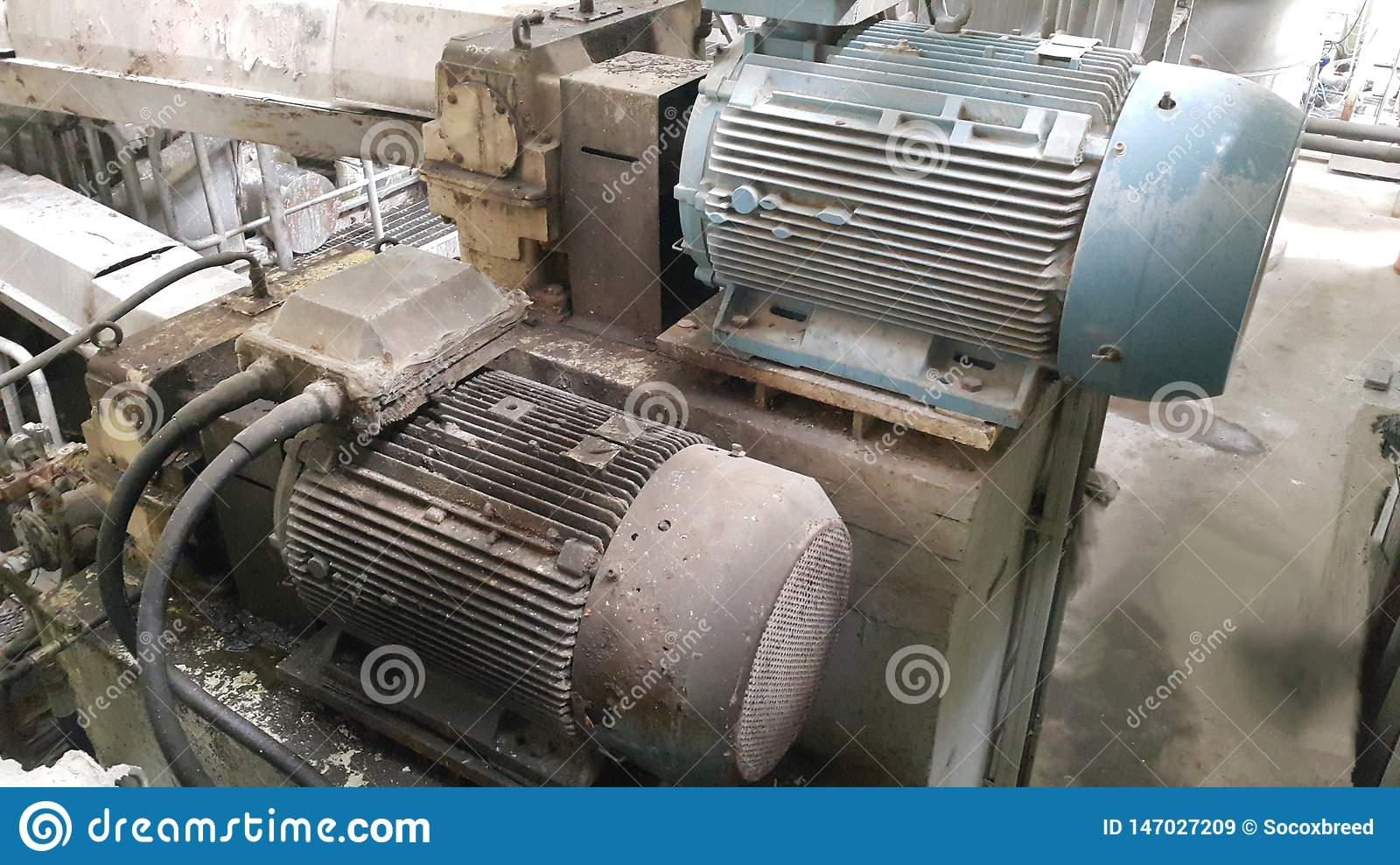 Old electrical motor on pulp and paper machine