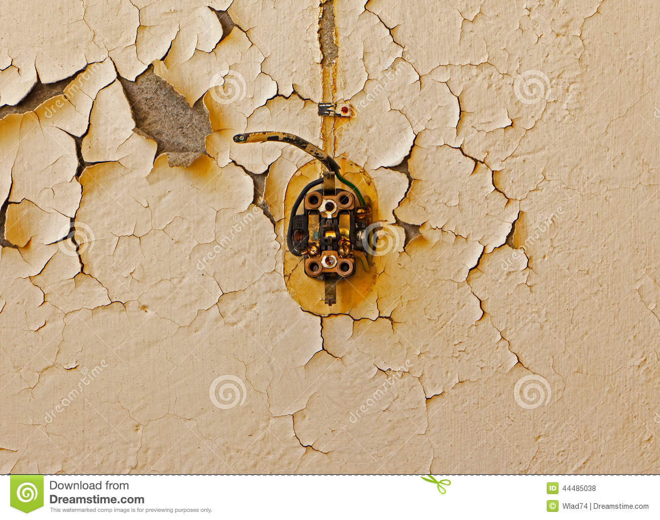 Cable Wall Outlet : Old electrical outlet and cable on decrepit wall stock photo image