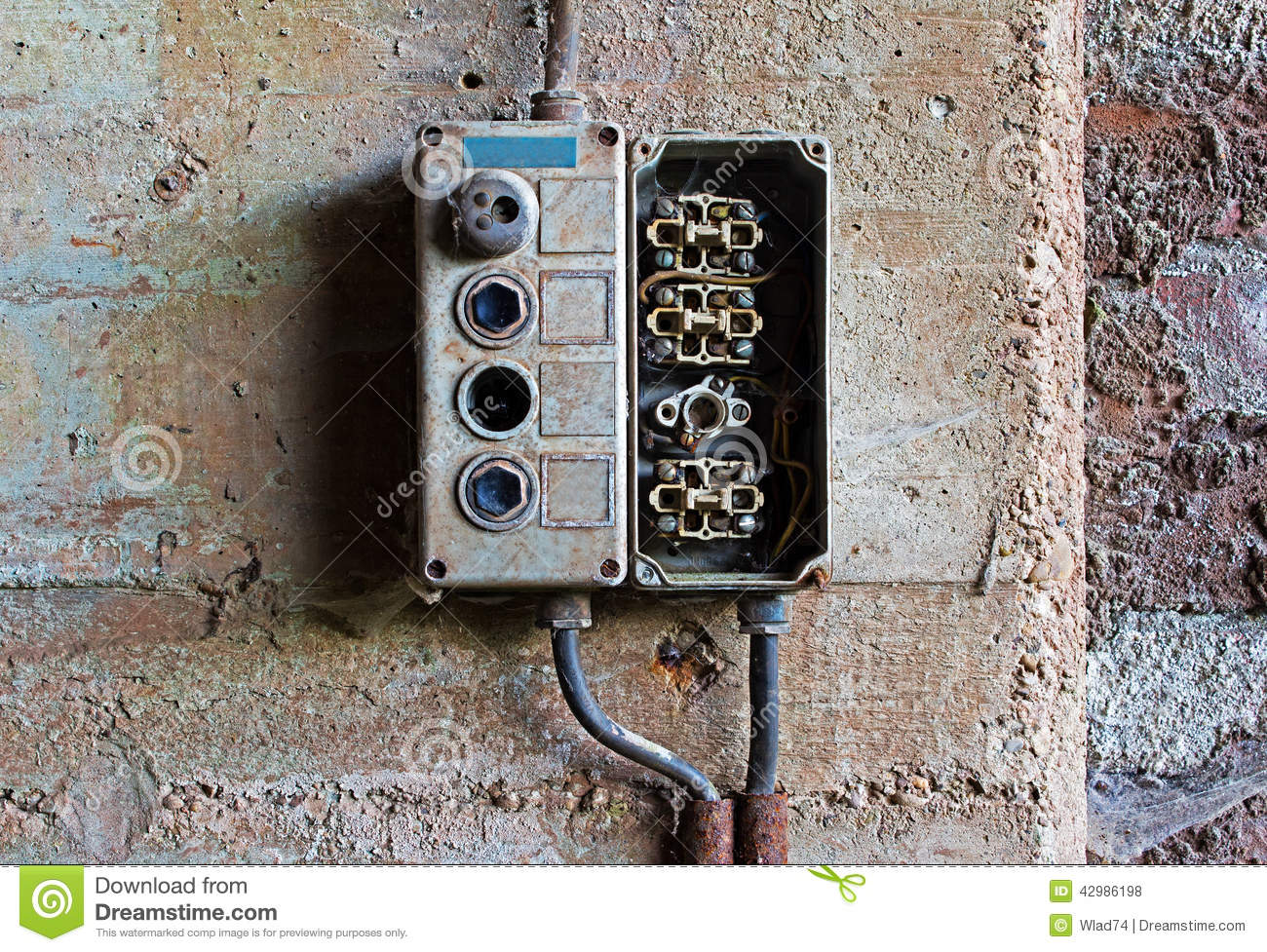Old Electrical Panel On Concrete Wall Stock Photo Image