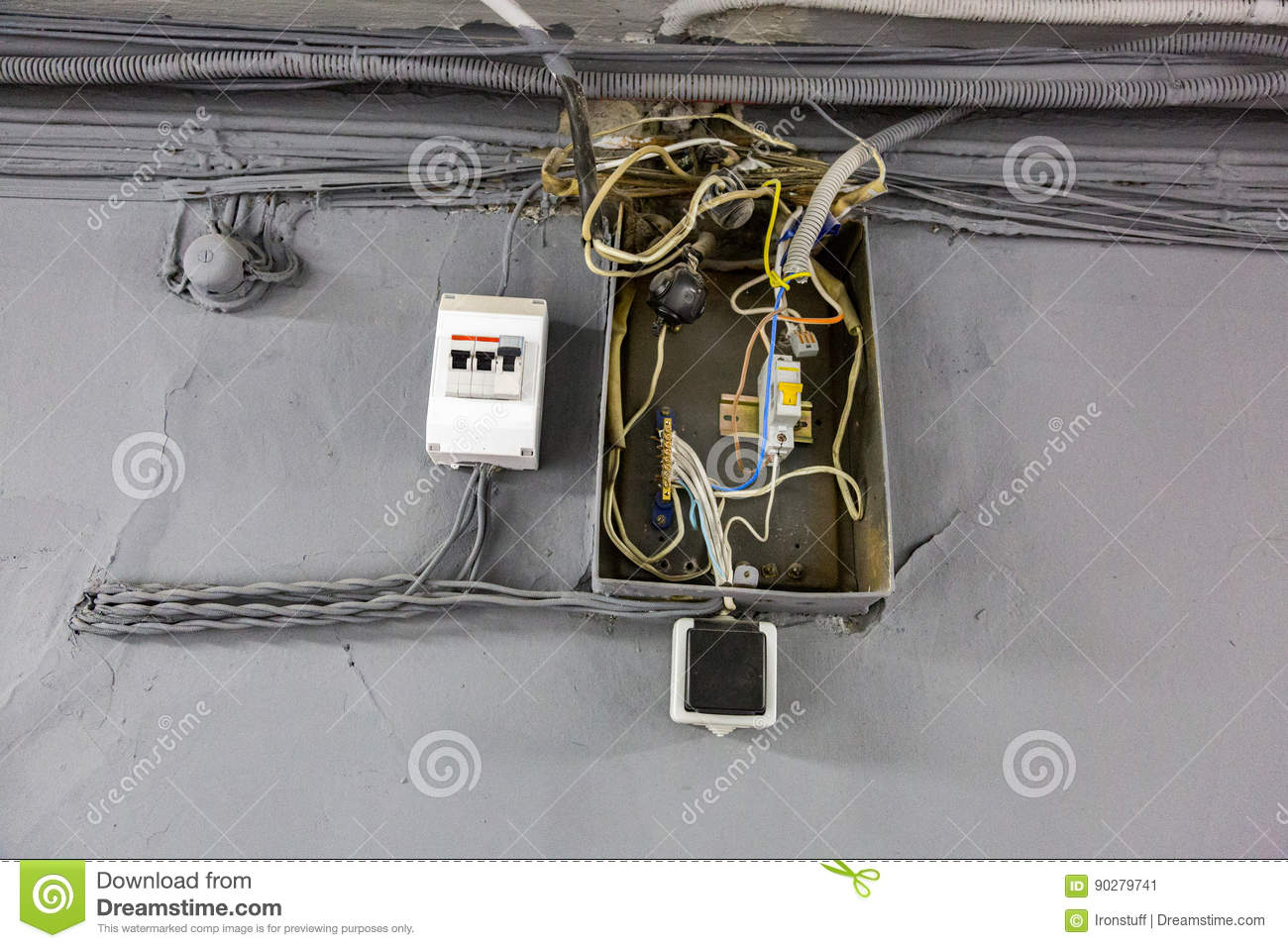 Old electrical wiring stock image. Image of dashboard - 90279741