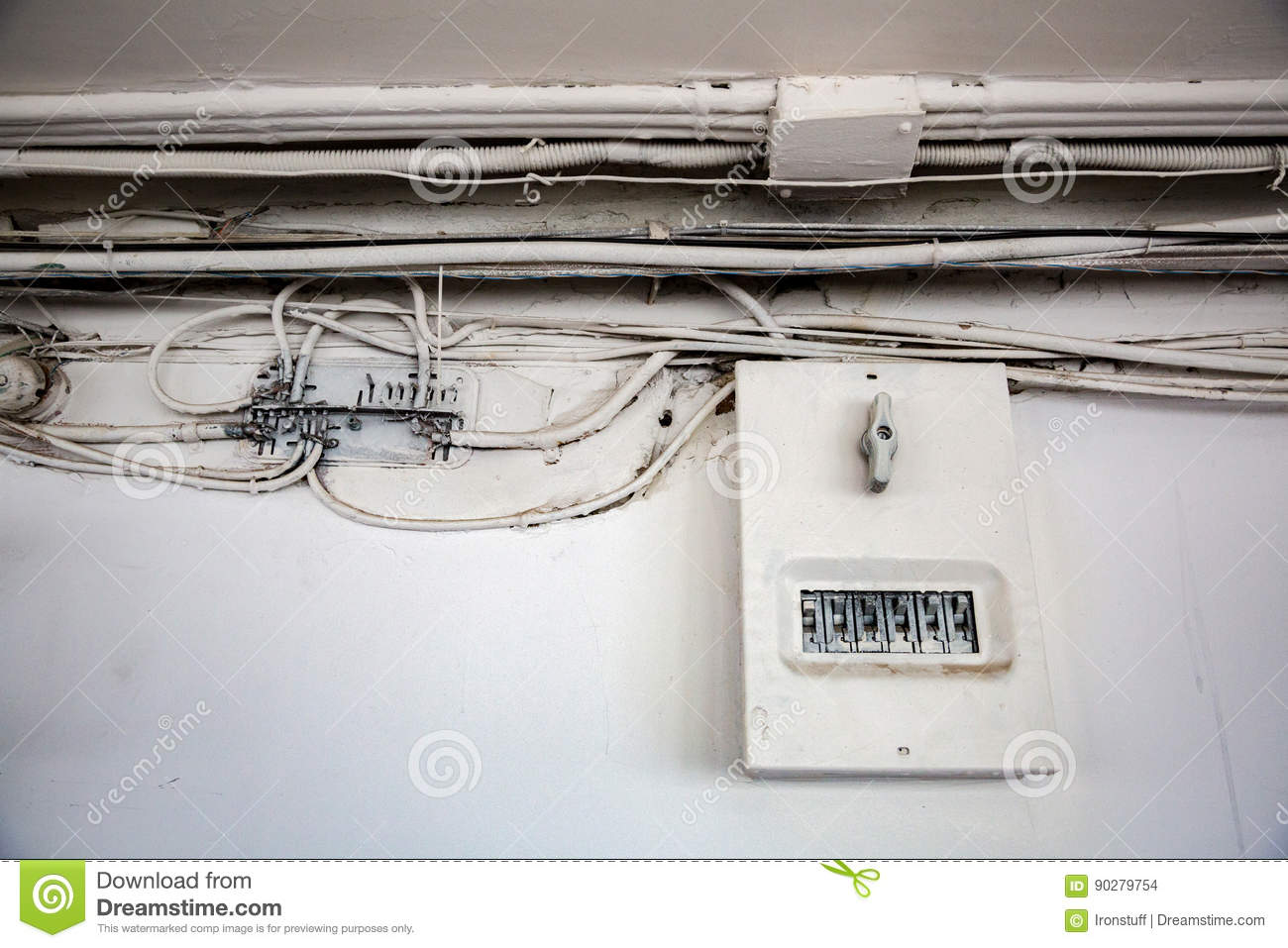 Old Electrical Wiring Stock Photo Image Of Insecure 90279754 Download