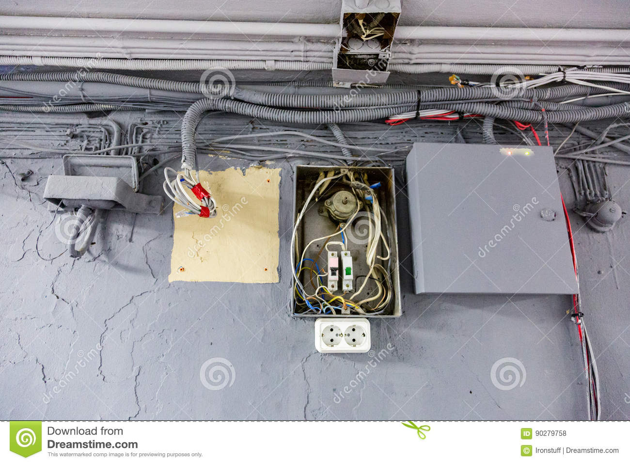 Old Electrical Wiring Dangerous Trusted Diagrams Stock Photo Image Of Vintage Unsafe