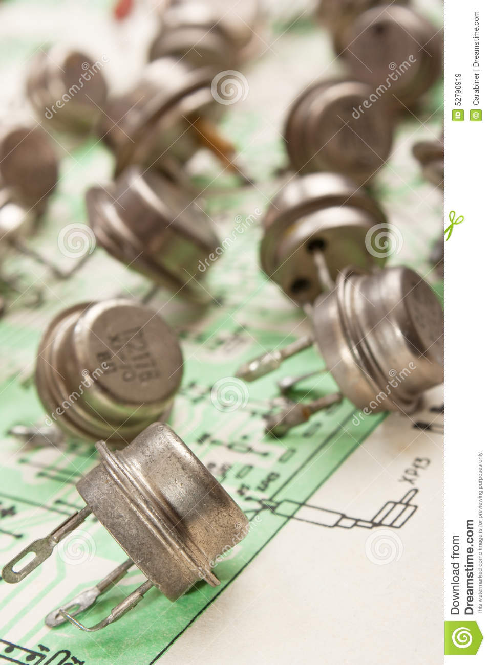 Old Electronic Components Stock Image Of Office 52790919 Wiring Diagram Lie On The