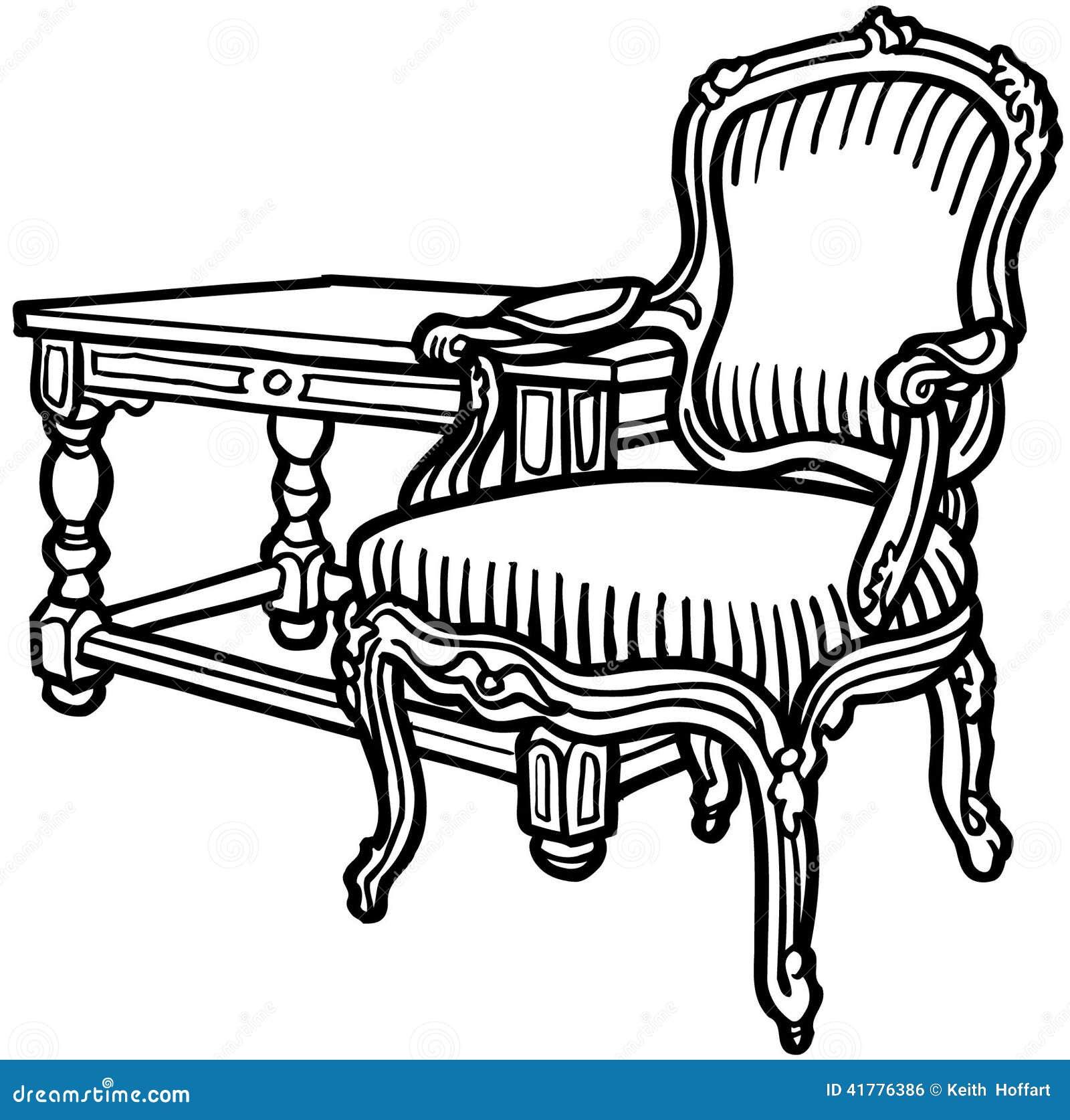 old elegant chair cartoon vector clipart stock vector - image