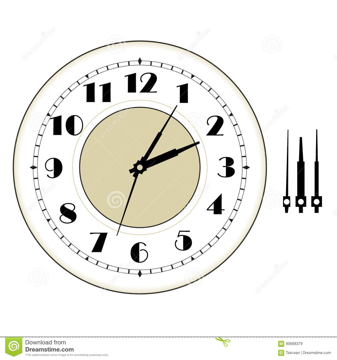 Vintage Clock Face Template Stock Vector - Illustration of hour ...