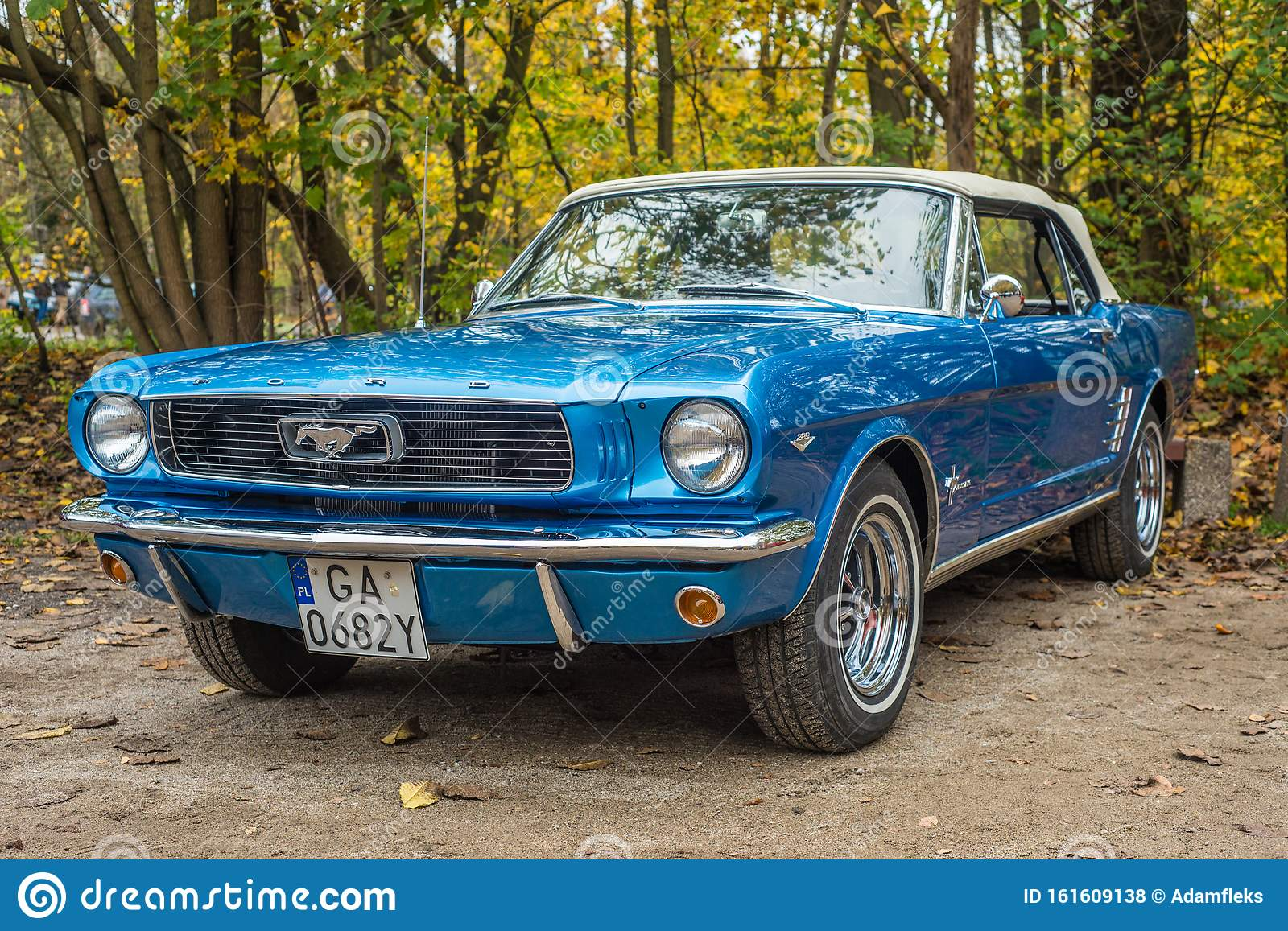 Classic Elegant And Shining Blue Ford Mustang At Car Show Editorial Stock Photo Image Of Ford Black 161609138