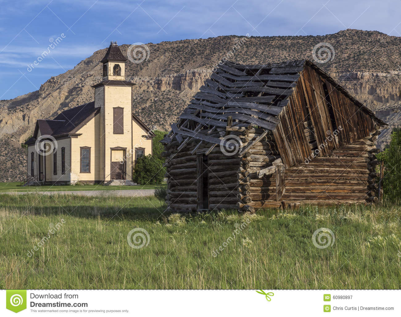 Old emery meeting house and settler cabin stock photo for Utah log cabins