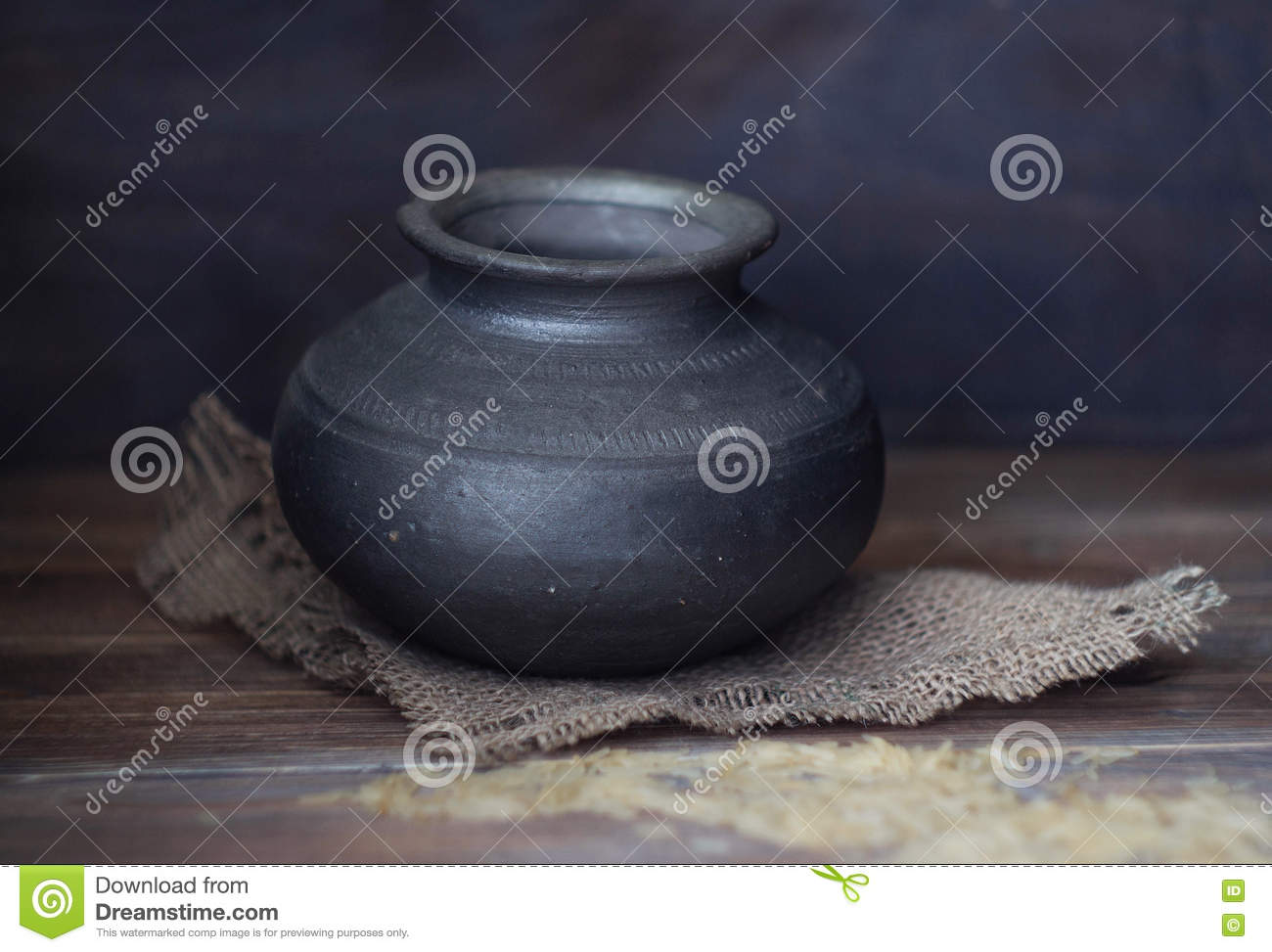 Old Empty Indian clay pot