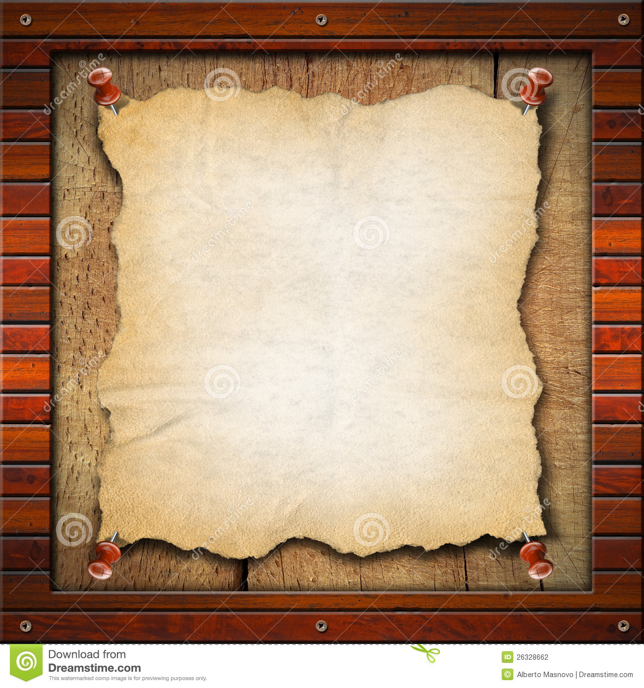 Old Empty Paper In Wood Frame Stock Illustration Image