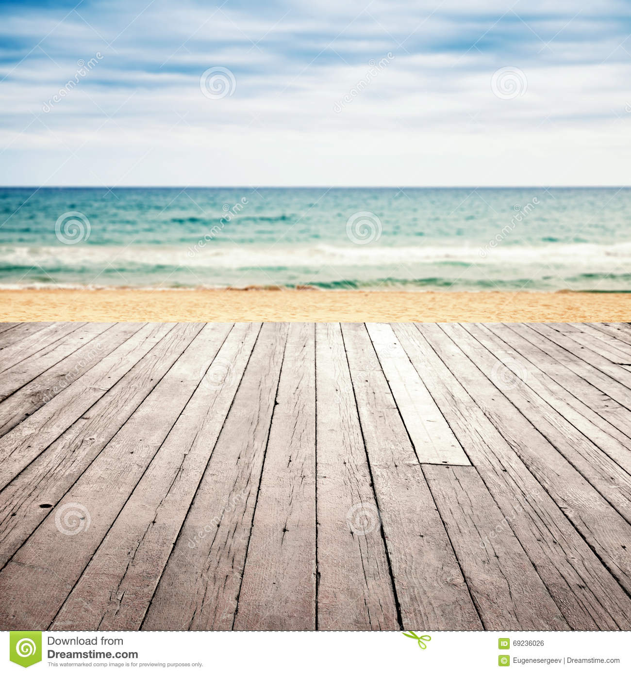 Wood Floor On Beach Sea And Blue Sky For Background Stock: Old Empty Wooden Pier Perspective On Sandy Beach Stock