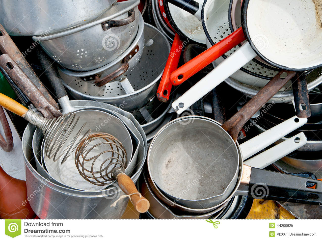 Old Enameled And Aluminum Cookware Stock Image Image Of