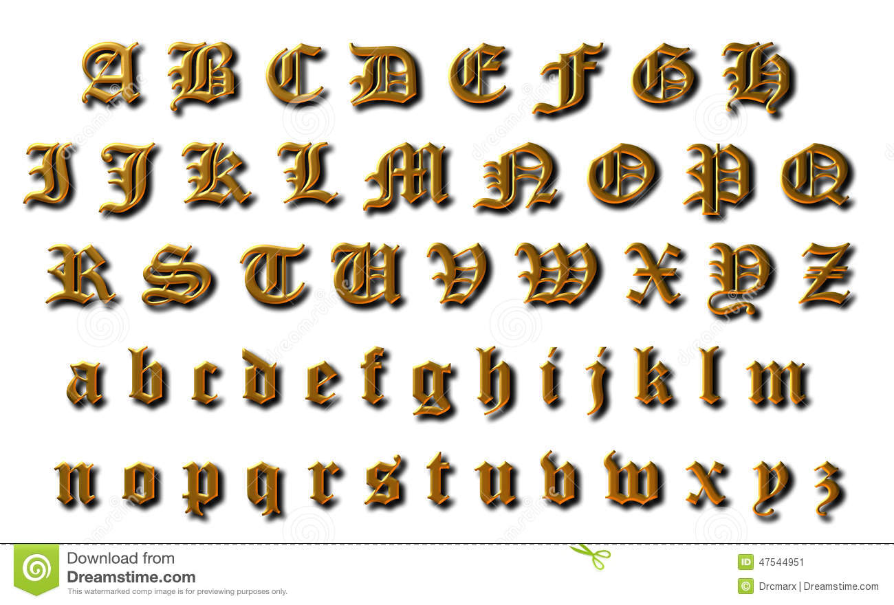 Old English Alphabet stock illustration  Illustration of collection