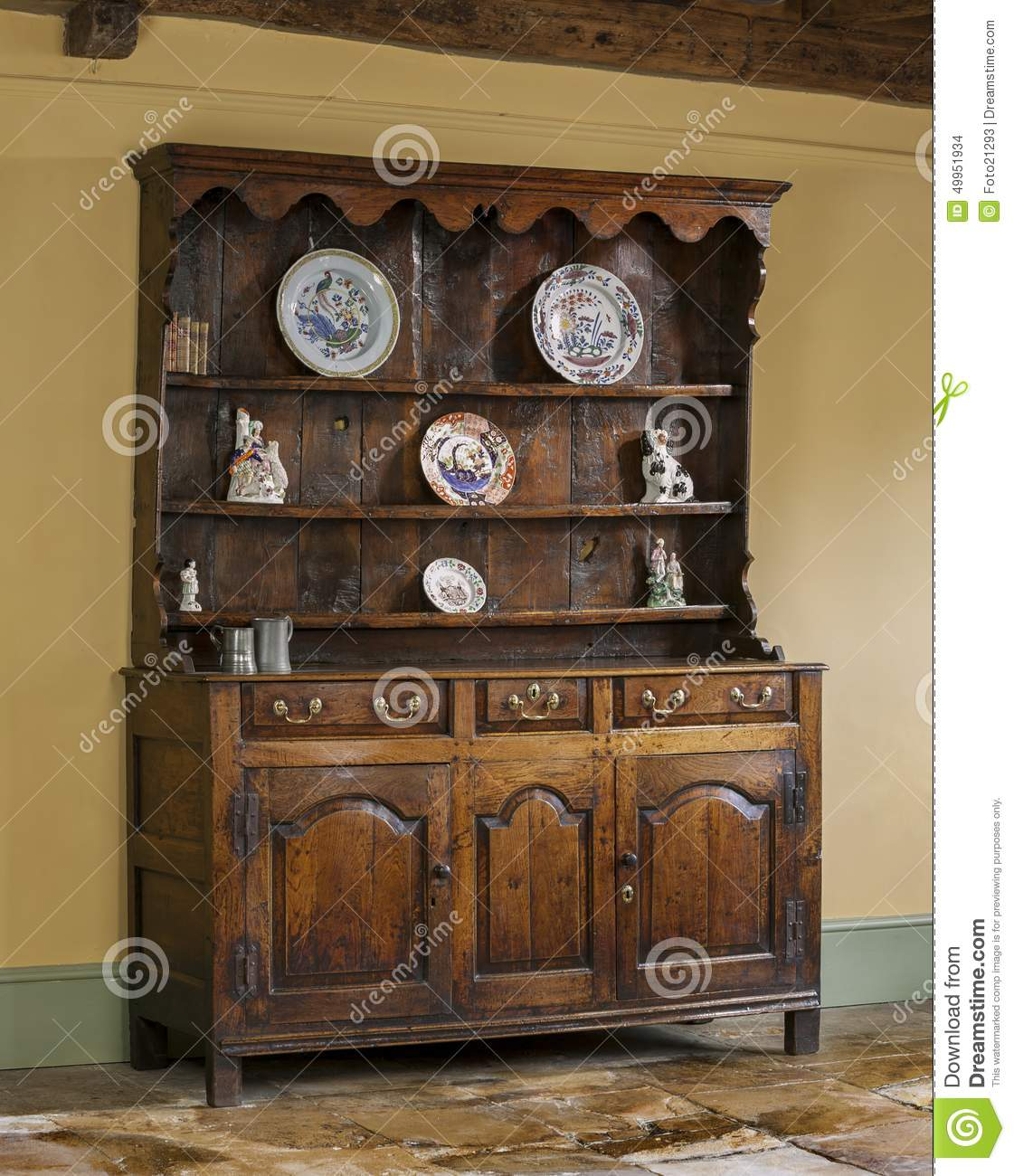 Old English Antique Oak Kitchen Dresser Stock Photo