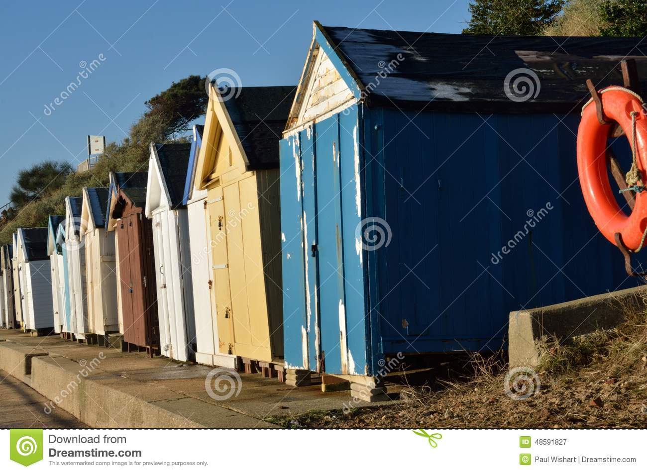 Old English Beach Huts Stock Image Image Of England 48591827