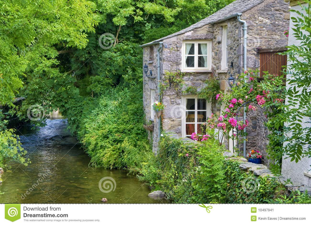 Old english cottage on river stock image image of flow cottage 10497941 - Cottage image ...