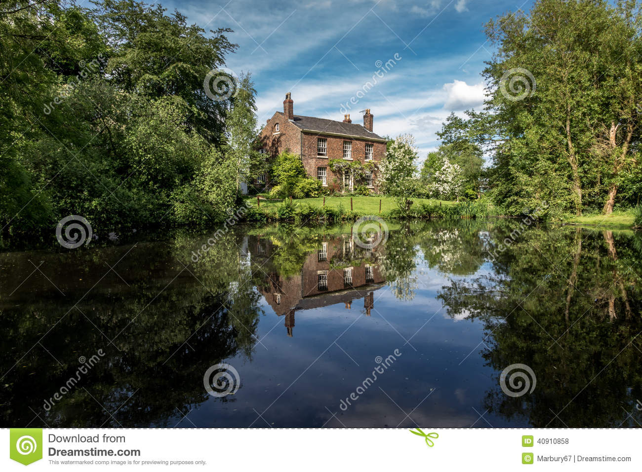 Old English Farm And Pond Stock Photo Image Of Rustic