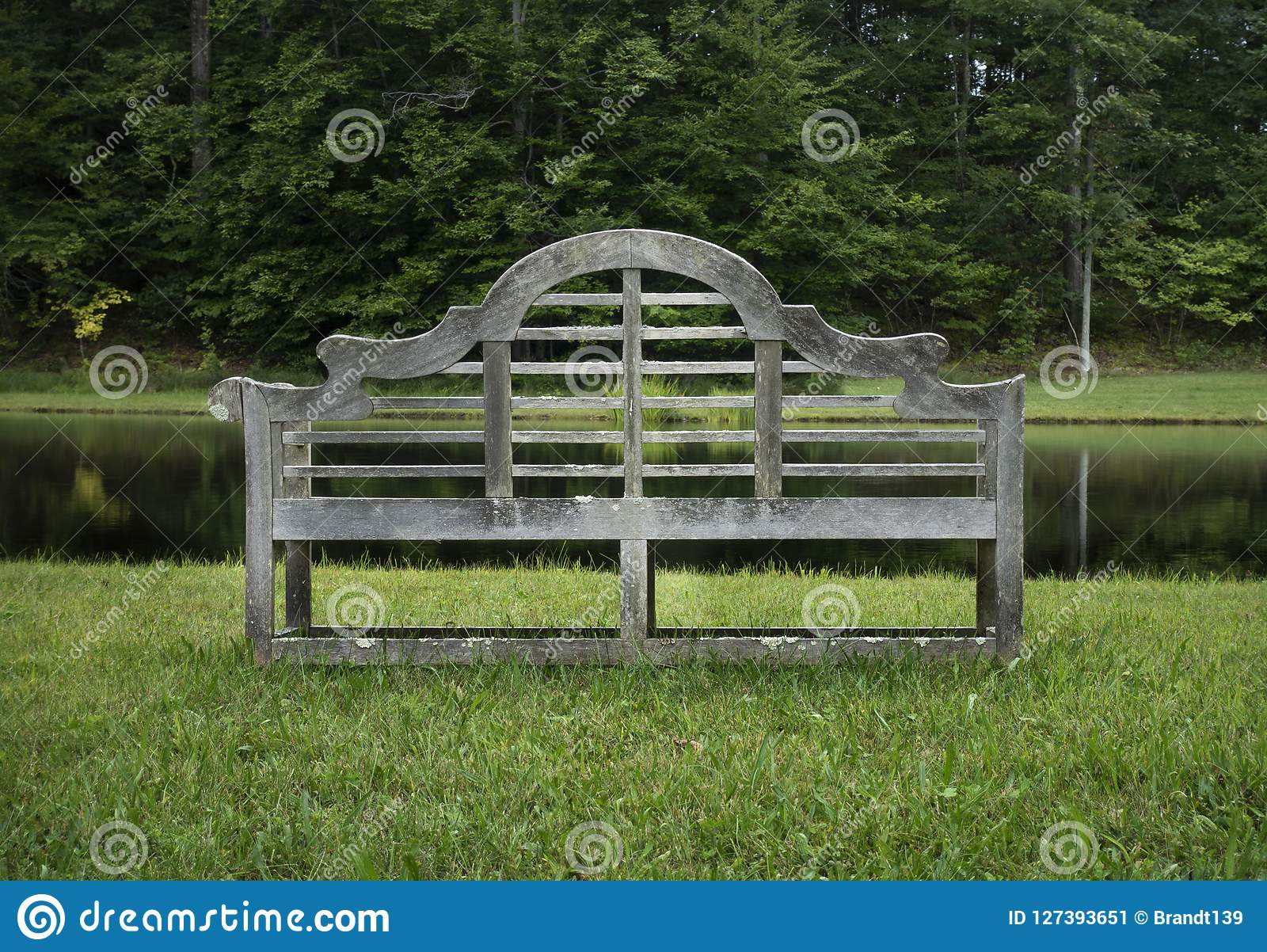 Admirable Old Wooden Garden Bench On A Pond Stock Image Image Of Caraccident5 Cool Chair Designs And Ideas Caraccident5Info