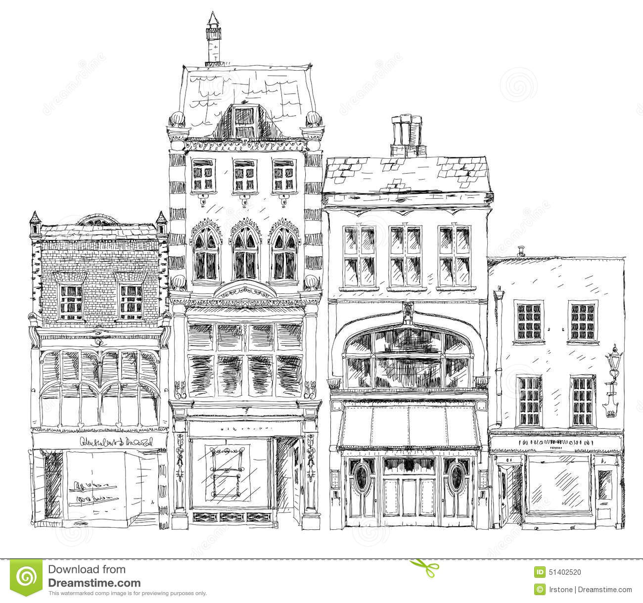 Old English Town Houses With Small Shop Or Business On