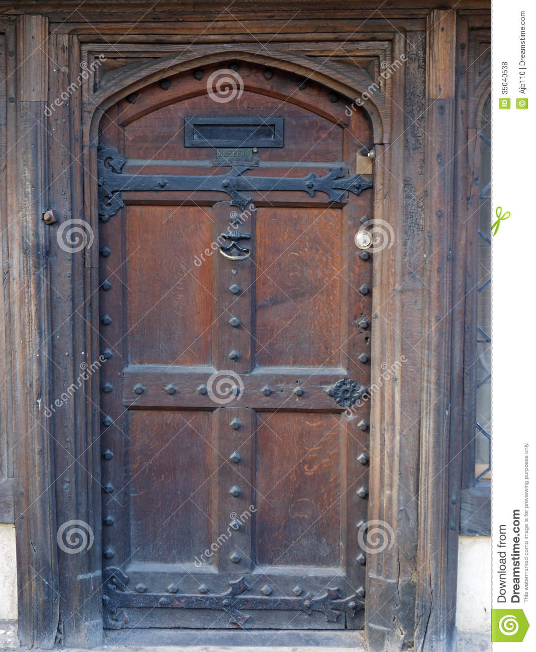 Old English Wooden Street Door Stock Photo Image 35040538