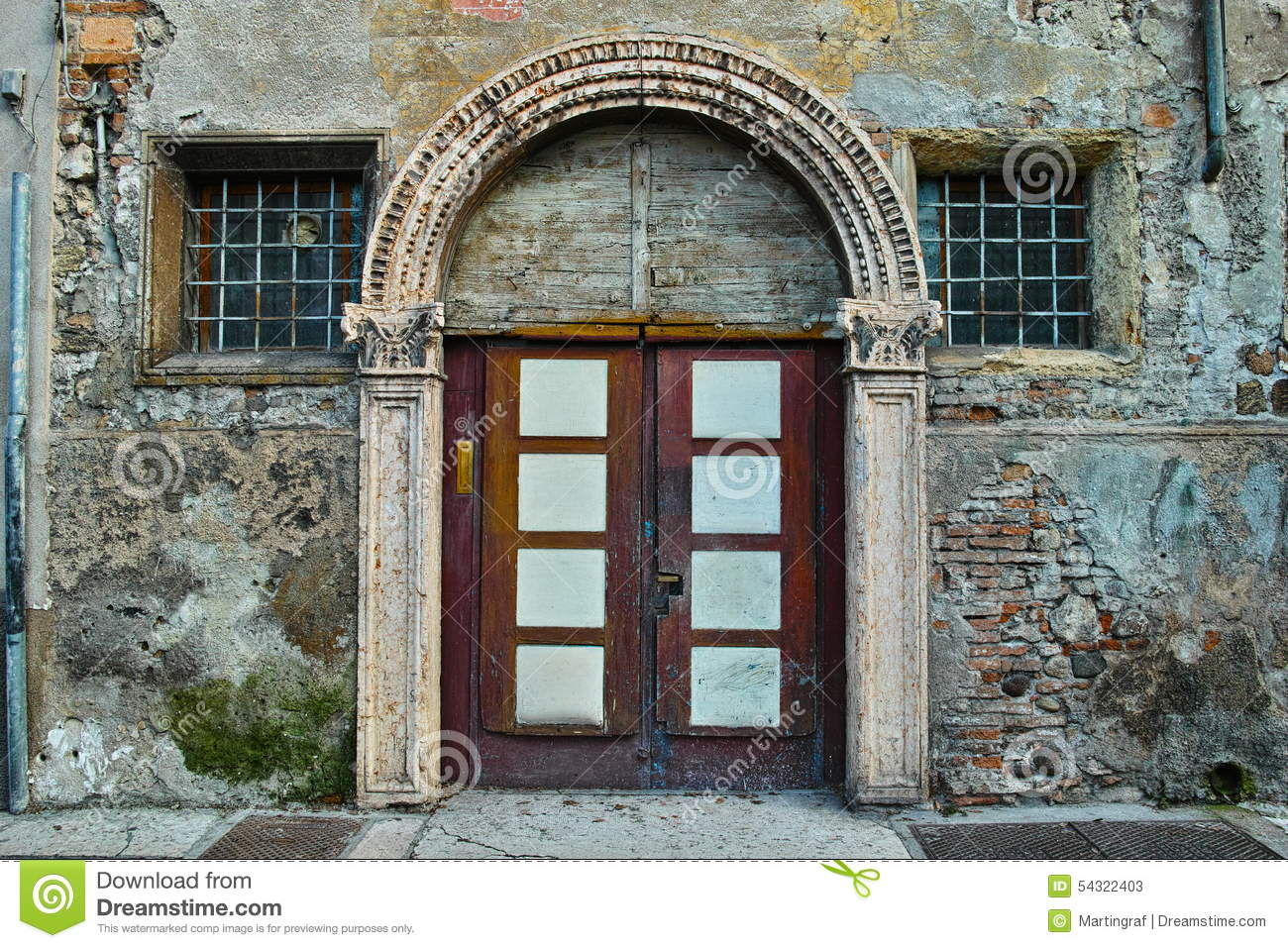 Old Entry Door And Trellised Windows In Old City Stock Image Image