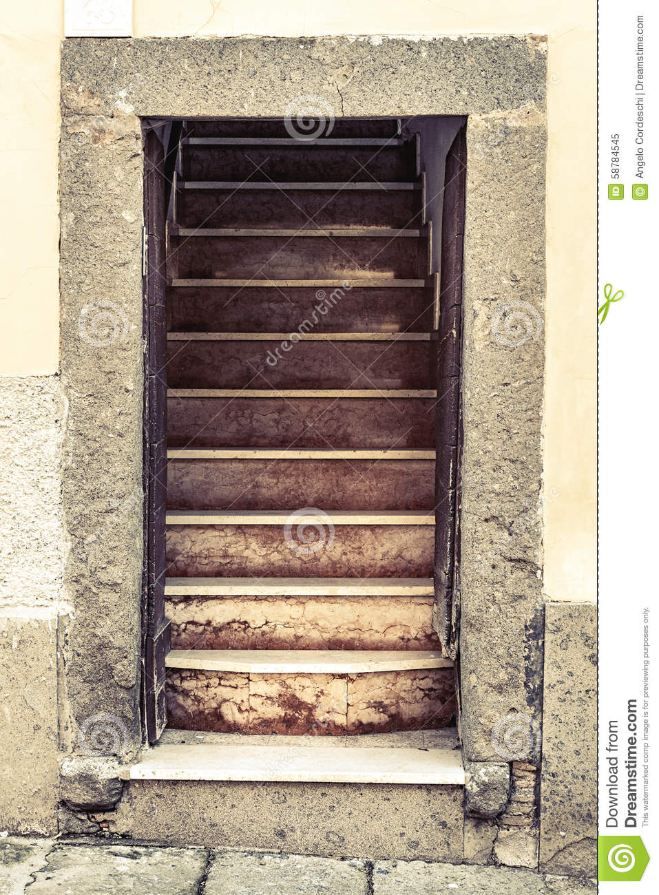 Old Entrance Stone House Open Door With Stairs Stock Photo