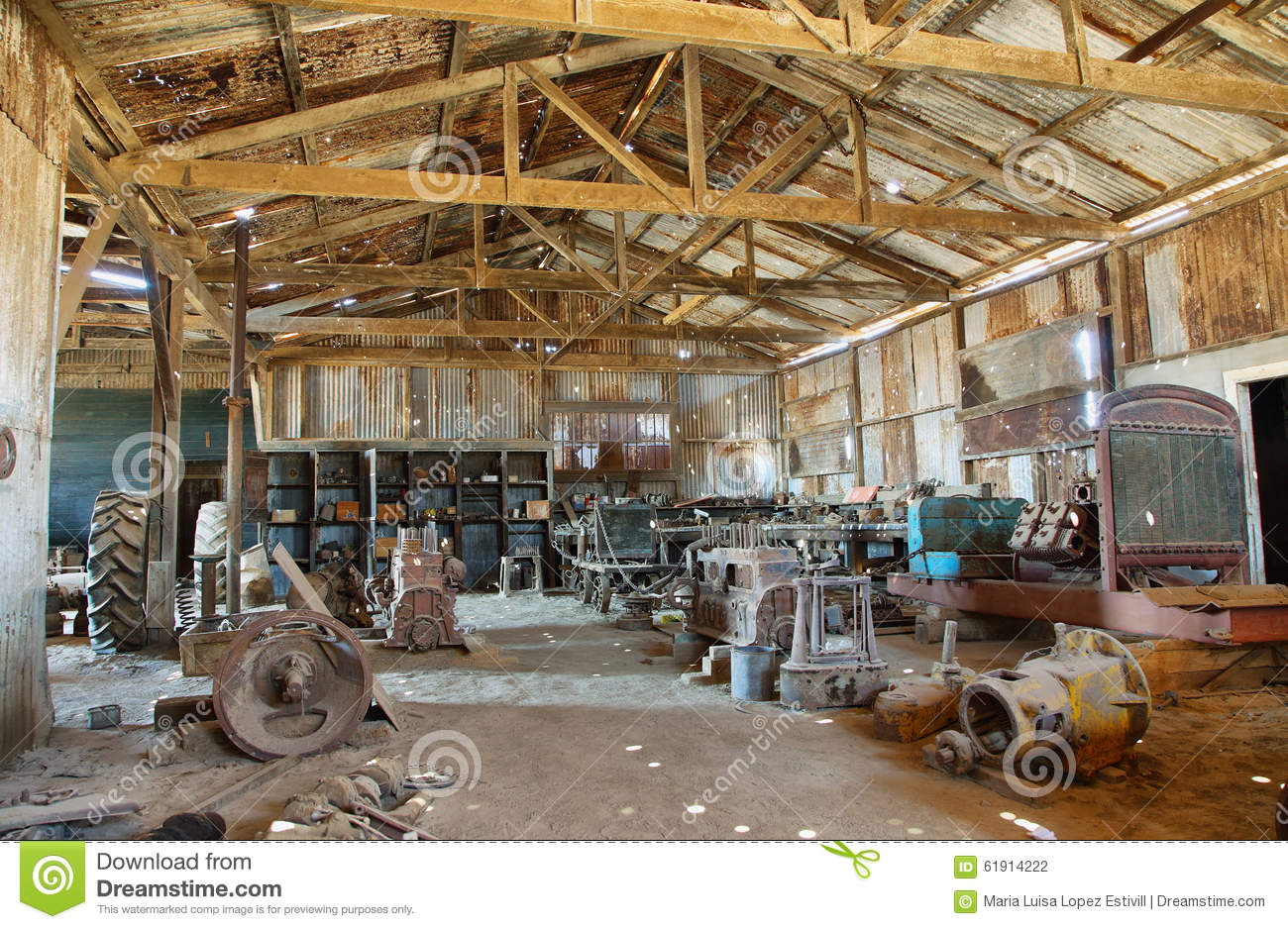Old equipment and tools inside a building of Humberstone, Chile