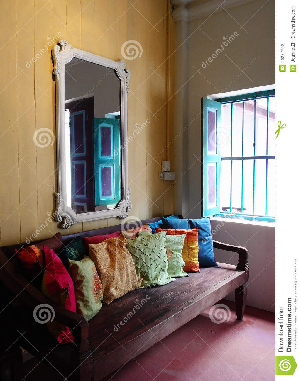 old ethnic asian house interior decor stock photography - image