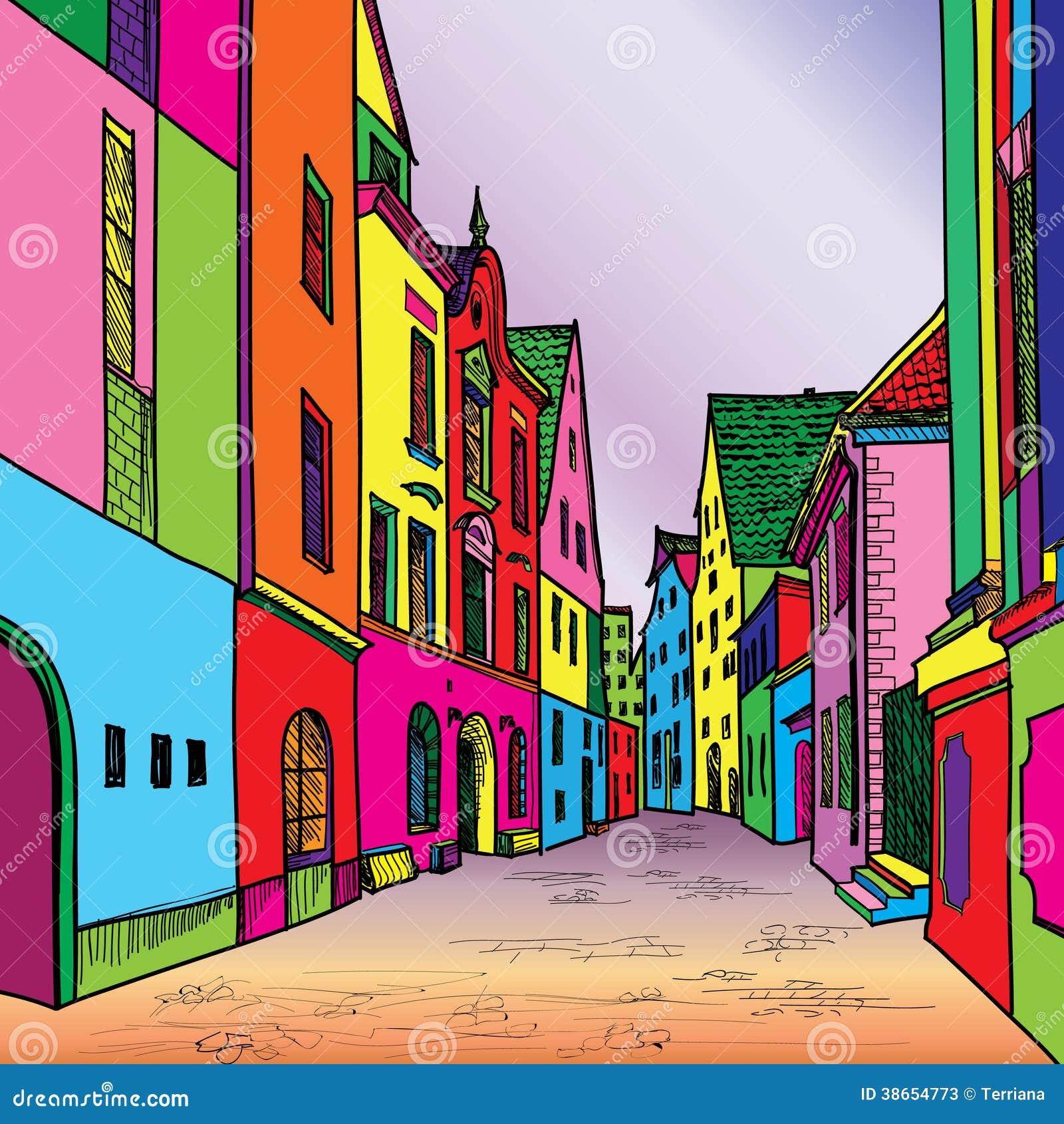 Old European Cosy Street Stock Illustration Image Of