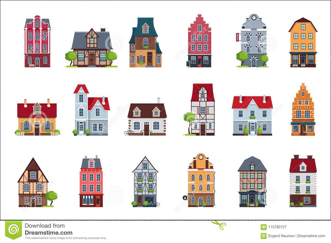 Old European Houses Facade Set Colorful Houses Of Different