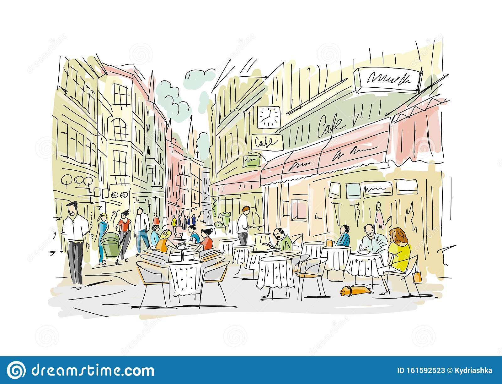 Old European Street With Cafe And Restaurants Sketch For Your Design Stock Vector Illustration Of Europe Area 161592523