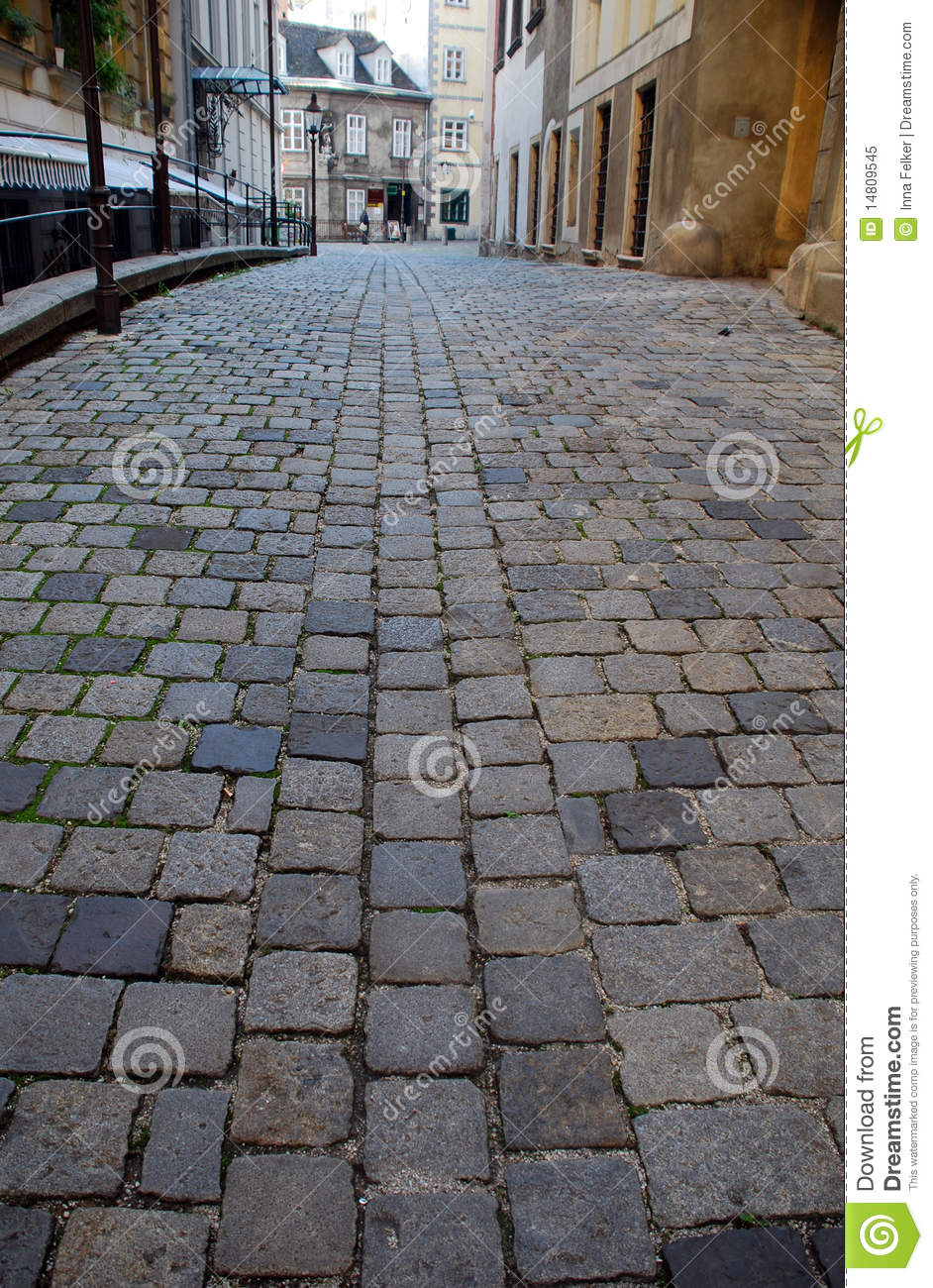 Old European Street With Cobblestone Stock Image Image