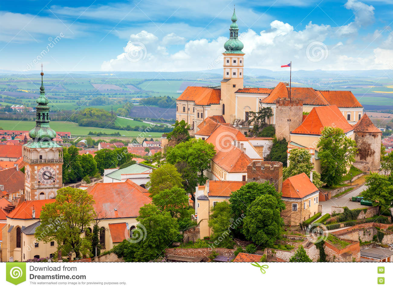 Old European Town with castle and clock