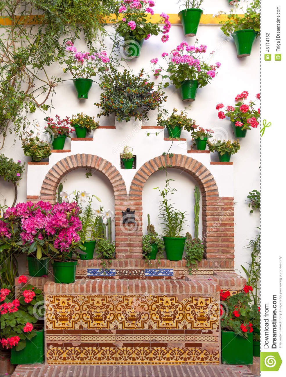 Old European Town Flower Decoration Of Wall Cordoba